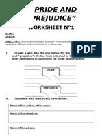 Pride and Prejudice worksheet