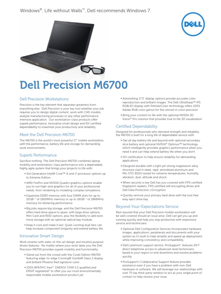 Dell Precision m6700 Datasheet   Solid State Drive   Secure Digital