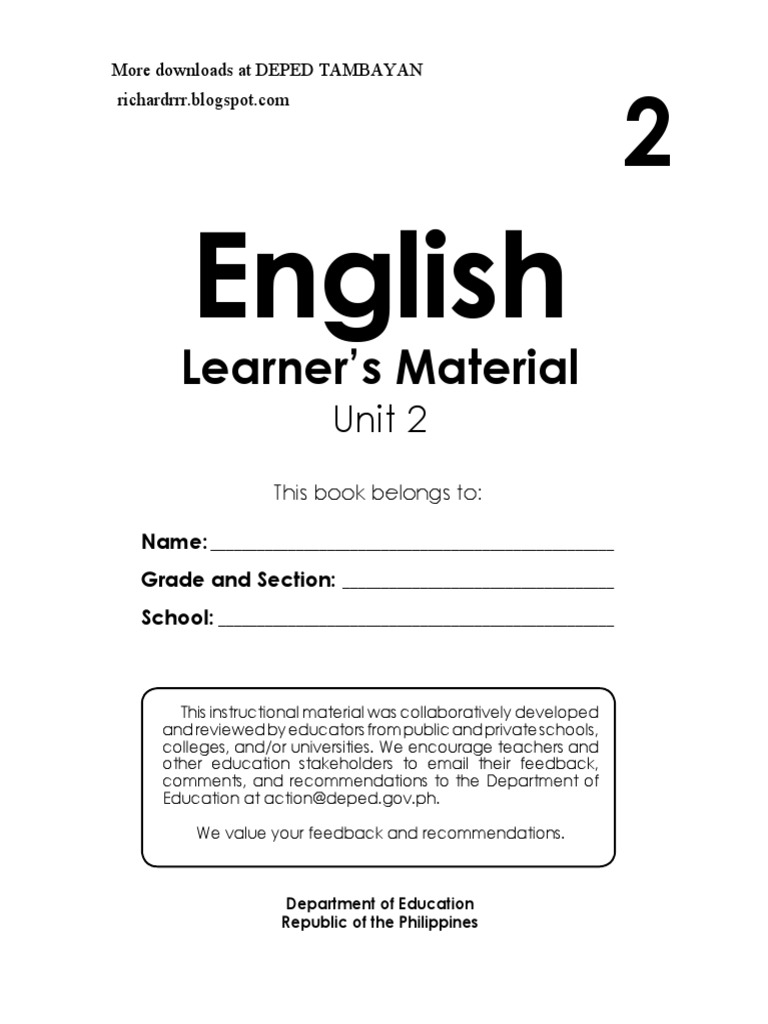 Grade 2 English LM pdf | Teachers | State School