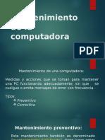Mantenimientos de La Computadora Agosto