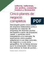 Cinco Planes de Negocio Completos