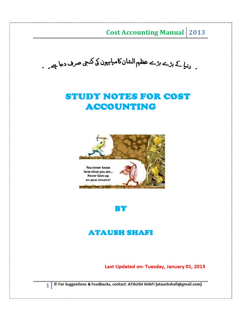 Cost Accounting Manual | Cost Of Goods Sold | Debits And Credits