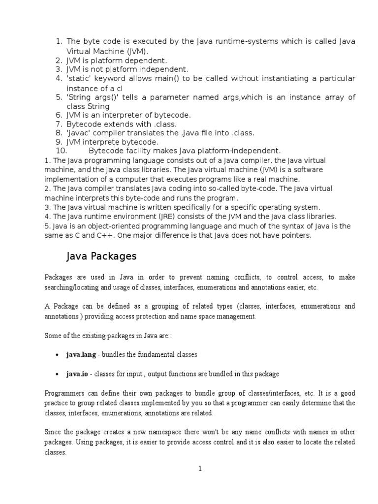 Bullet Points | Java (Programming Language) | Application