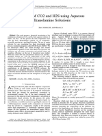Removal of CO2 and H2S Using Aqueous Alkanolamine Solusions