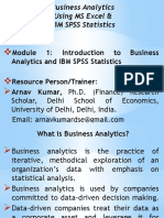 Introduction to Business Analytics & SPSS