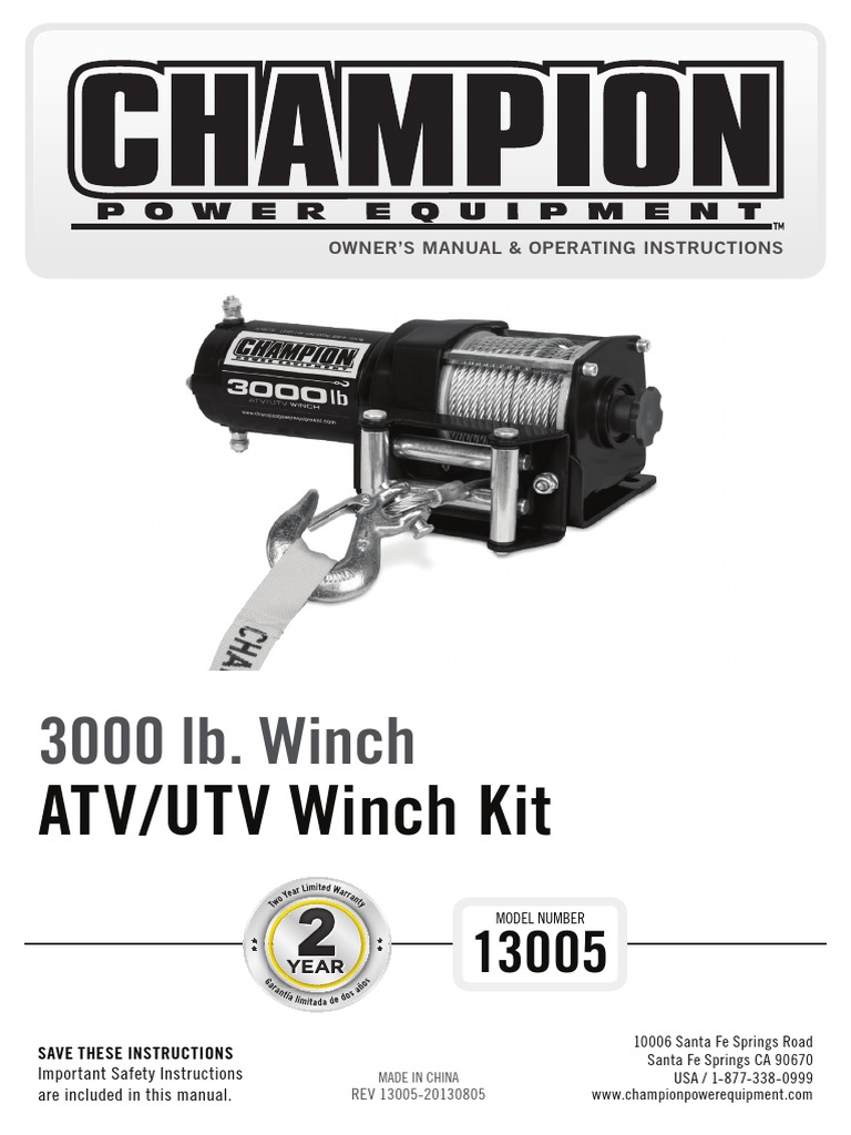 13005 Manual English Clutch Rope Champion 3000 Winch Wiring Diagram