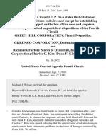 Green Hill Corporation v. Greenko Corporation, and Richmark Factory Stores of Oxon Hill, Inc. Richmark Corporation Charles C. Kim Duak F. Kim, 891 F.2d 286, 4th Cir. (1989)
