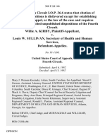 Willie A. Kirby v. Louis W. Sullivan, Secretary of Health and Human Services, 960 F.2d 146, 4th Cir. (1992)