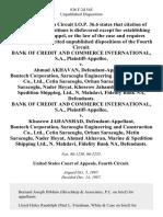 Bank of Credit and Commerce International, S.A. v. Ahmad Akhavan, Bontech Corporation, Saracoglu Engineering and Construction Co., Ltd., Cetin Saracoglu, Orhan Saracoglu, Metin Saracoglu, Nader Heyat, Khosrow Jahanshad, Marine & Spedition Shipping, Ltd., N. Mahdavi, Fidelity Bank Na, Bank of Credit and Commerce International, S.A. v. Khosrow Jahanshad, Bontech Corporation, Saracoglu Engineering and Construction Co., Ltd., Cetin Saracoglu, Orhan Saracoglu, Metin Saracoglu, Nader Heyat, Ahmad Akhavan, Marine & Spedition Shipping Ltd., N. Mahdavi, Fidelity Bank Na, 836 F.2d 545, 4th Cir. (1987)