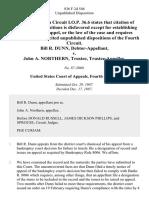 Bill R. Dunn, Debtor-Appellant v. John A. Northern, Trustee, Trustee-Appellee, 836 F.2d 546, 4th Cir. (1987)