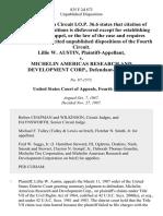 Lillie W. Austin v. Michelin Americas Research and Development Corp., 835 F.2d 873, 4th Cir. (1987)