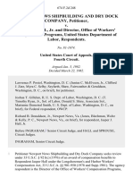 Newport News Shipbuilding and Dry Dock Company v. Jasper J. Hall, Jr. And Director, Office of Workers' Compensation Programs, United States Department of Labor, 674 F.2d 248, 4th Cir. (1982)