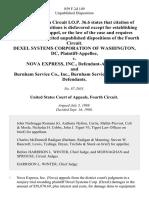 Dexel Systems Corporation of Washington, Dc v. Nova Express, Inc., and Burnham Service Co., Inc., Burnham Service Corporation, 859 F.2d 149, 4th Cir. (1988)