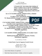 In Re Cavalier Court Associates, a Limited Partnership, T/a Cavalier Court Apartments, Debtor, W. Montel Jones Joseph J. Cockriel Davis A. McCue v. Cavalier Court Associates, a Limited Partnership, T/a Cavalier Court Apartments, in Re Cavalier Court Associates, T/a Cavalier Court Apartments, a Limited Partnership, Debtor, W. Montel Jones Joseph J. Cockriel Davis A. McCue v. Cavalier Court Associates, T/a Cavalier Court Apartments, a Limited Partnership, Robert E. Hyman, Trustee, 857 F.2d 1468, 4th Cir. (1988)
