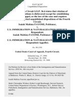 Isaiah Mabinu Fayomi v. U.S. Immigration & Naturalization Service, Isaiah Mabinu Fayomi v. U.S. Immigration & Naturalization Service, 914 F.2d 247, 4th Cir. (1990)