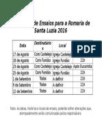 Calendário de Ensaios para a Romaria de Santa Luzia 2016
