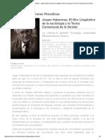 Revista Observaciones Filosóficas - Jürgen Habermas; El Giro Lingüístico de La Sociología y La Teoría Consensual de La Verdad