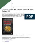 Societati Secrete. Mit Putere Si Adevar de Klaus-Rudiger Mai