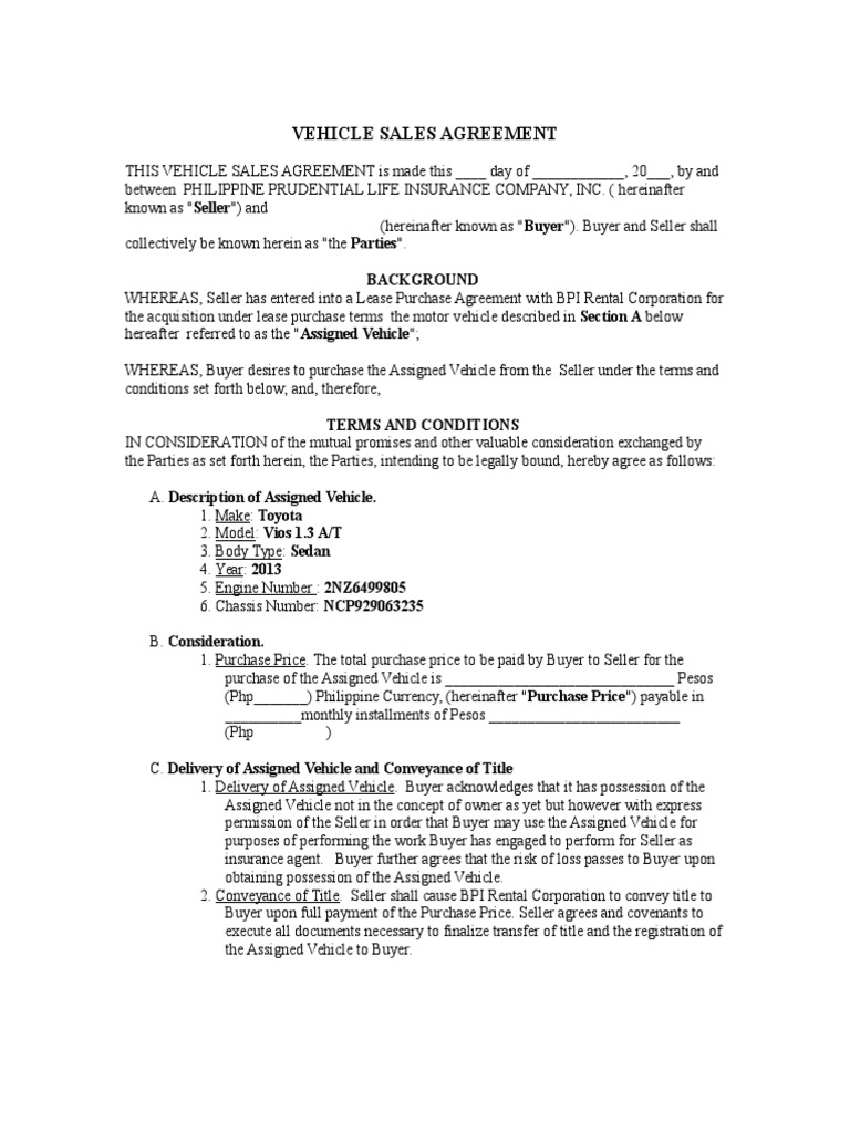 vehicle sales agreementdoc sales jurisdiction