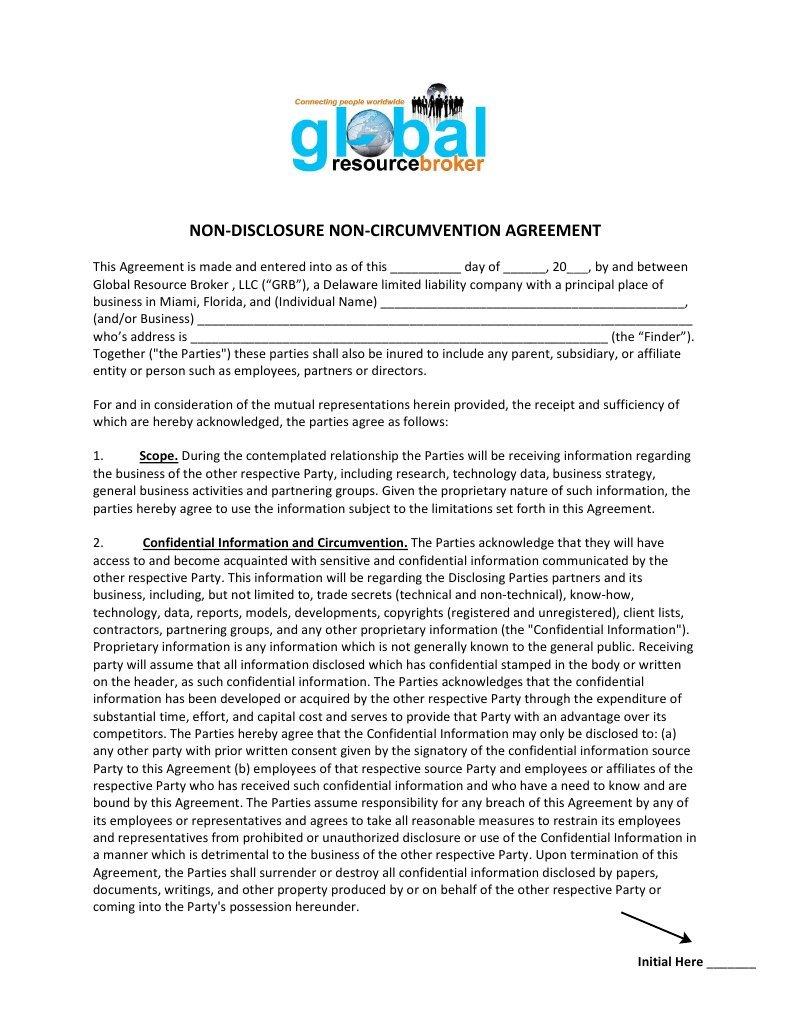 Grb Non Disclosure Non Circumvention Agreement 2 Arbitration