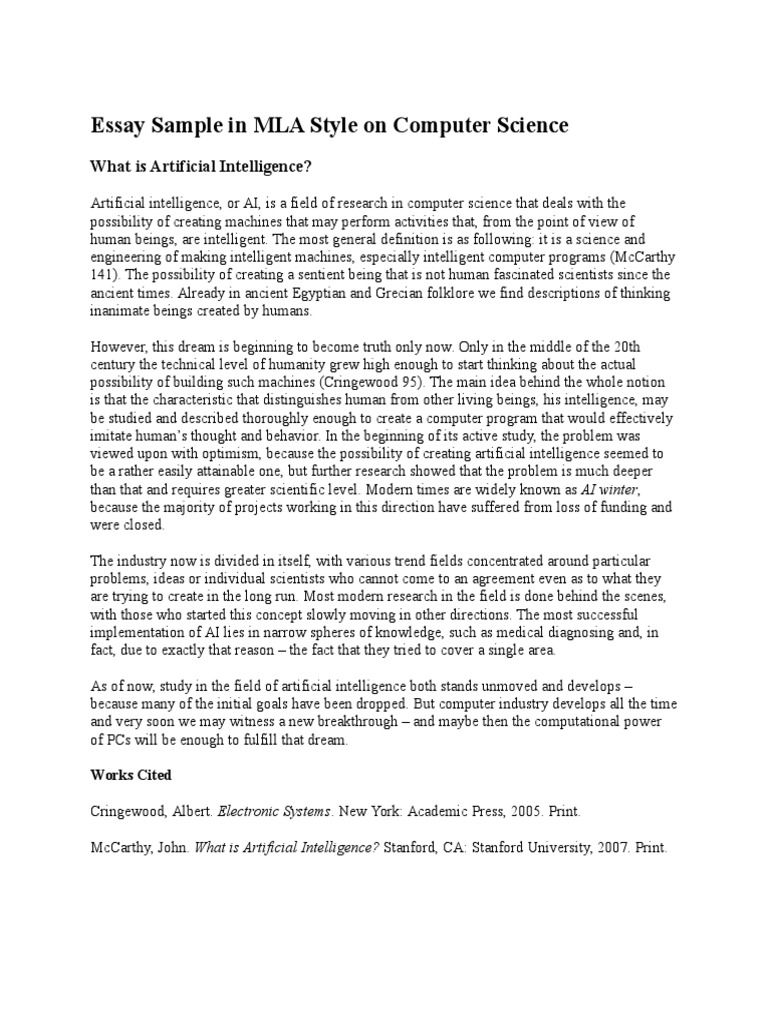 Computer Science Essay Example for College Students