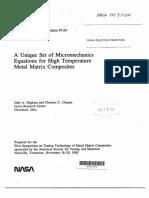 A Unique Set of Micromechanics Equations for High Temperature Metal Matrix Composites
