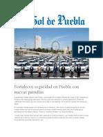 16-08-2016 El Sol de Puebla - Fortalecen Seguridad en Puebla Con Nuevas Patrullas