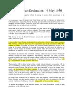 The Schuman Declaration – 9 May 1950