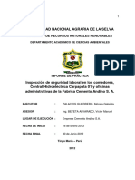 Inspeccion de Seguridad Laboral en Los Comedores, Central Hidroelectrica Carpapata 01 y Oficinas Ad