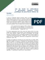 Compte Rendu du Le Culturalisme Traditionaliste Africaniste de Jean-Pierre Olivier de Sardan
