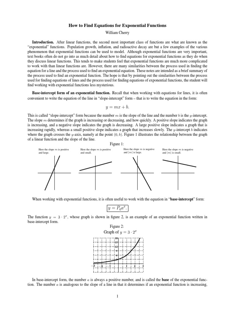 exponential graph  exponential function  equations
