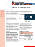 Continuous Monitoring Water Acetic Acid Plants