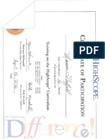 certificate of attendance for highscope curriculum