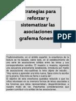 Estrategias para reforzar y sitematizar las asociaciones grafema-fonema