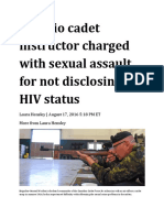 17 Aug 2016 - Sexual Assault Charge for HIV Positive Instructor