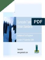Eurocode 7 and British Standards