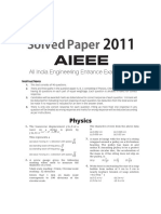 JEE MAINS Solved Paper 2011
