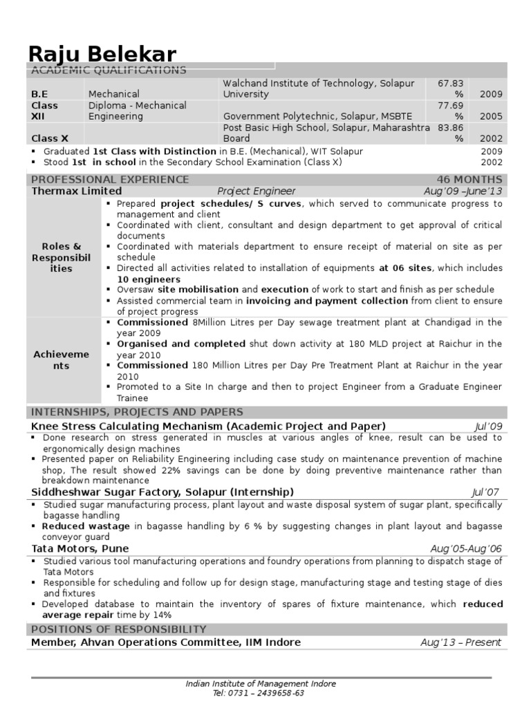 iim a resume format for freshers doc mechanical engineering