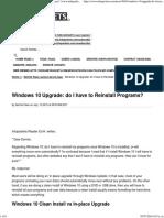 Windows 10 Upgrade - Do I Have to Reinstall Programs