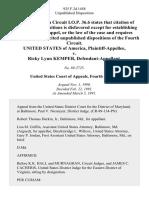 United States v. Ricky Lynn Kemper, 925 F.2d 1458, 4th Cir. (1991)