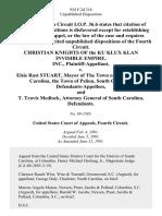 Christian Knights of the Ku Klux Klan Invisible Empire, Inc. v. Elsie Rast Stuart, Mayor of the Town of Pelion, South Carolina, the Town of Pelion, South Carolina, and T. Travis Medlock, Attorney General of South Carolina, 934 F.2d 318, 4th Cir. (1991)