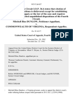 Mitchell Bias Dunlow v. Commonwealth of Virginia, 953 F.2d 637, 4th Cir. (1992)
