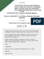 United States v. Sylvester Akinkoutu, A/K/A Henry Babalola, 955 F.2d 42, 4th Cir. (1992)