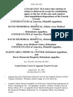 United States v. Davis Memorial Hospital Elkins Area Medical Center, United States of America v. Davis Memorial Hospital, and Elkins Area Medical Center, United States of America v. Elkins Area Medical Center, and Davis Memorial Hospital, 956 F.2d 1163, 4th Cir. (1992)