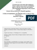 Charles Edward Holley v. Cook Enterprises, Incorporated, T/a Burger King Restaurant, 998 F.2d 1009, 4th Cir. (1993)