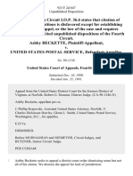 Ashby Beckette v. United States Postal Service, 923 F.2d 847, 4th Cir. (1991)