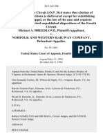 Michael A. Breedlove v. Norfolk and Western Railway Company, 28 F.3d 1208, 4th Cir. (1994)