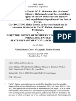Carl Dalton Helen Dalton, on Her Own Behalf and as Successor in Interest to Carl C. Dalton, Deceased v. Director, Office of Workers' Compensation Programs, United States Department of Labor, 849 F.2d 604, 4th Cir. (1988)