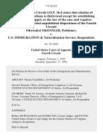 Okwoukei Okonmah v. U.S. Immigration & Naturalization Service, 7 F.3d 225, 4th Cir. (1993)