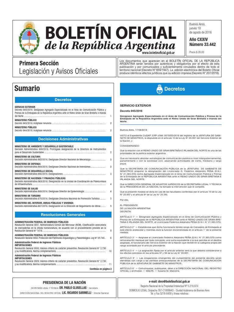 Boletín Oficial De La República ArgentinaNúmero 33 44218 srhQdCxtB
